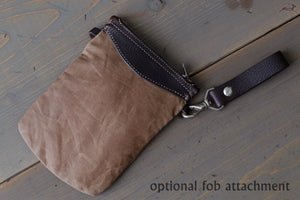 Canvas and Leather Pencil Case with Keychain - OCHRE handcrafted