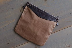 Canvas and Leather Pouch  - OCHRE handcrafted
