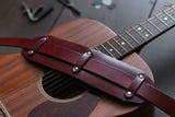 Dark Red Leather Guitar Strap