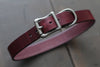Dark Red leather dog collar