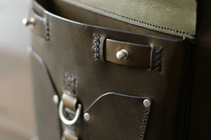 Green Leather Bag with Pocket