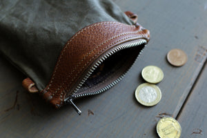 Green Canvas Coin Purse - OCHRE handcrafted