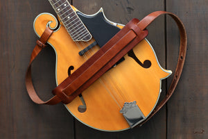 Handcrafted Leather Mandolin Strap - FOLK style