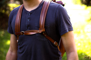 Leather backpack with Sternum Strap - OCHRE handcrafted