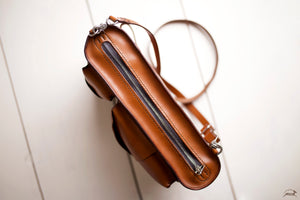 Leather satchel Zipper - OCHRE handcrafted