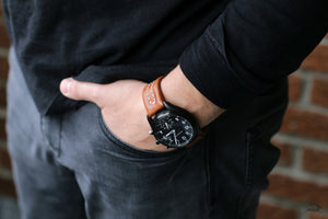 Leather watch strap jeans