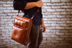 brown leather satchel bag - OCHRE handcrafted