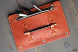 leather pencil case 3-ring binder - OCHRE handcrafted