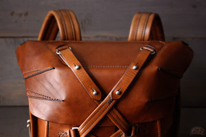 leather rucksack with stud closure - OCHRE handcrafted