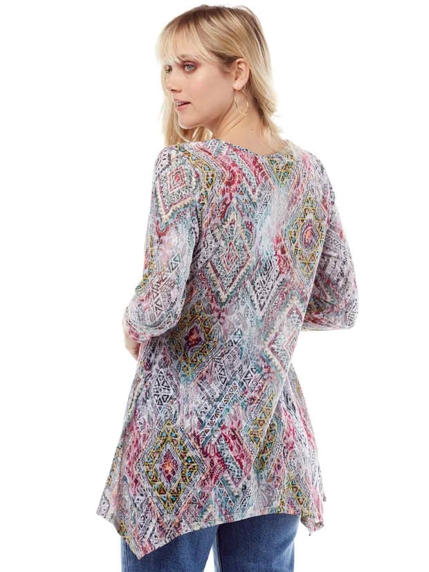 """Elexa"" Print Cotton Burnout Asbury Tunic"
