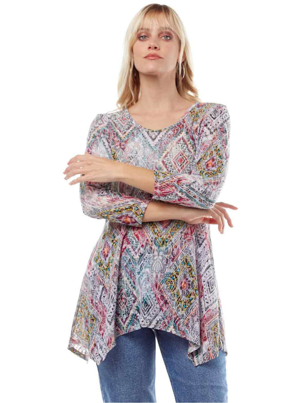 """Elexa"" Print Cotton Burnout Asbury Tunic-WASH"