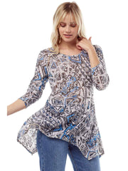 """Zenon"" Print Cotton Burnout Asbury Tunic-WASH"