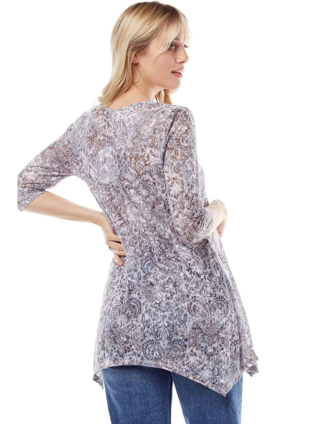 """Valencia"" Print Cotton Burnout Asbury Tunic-WASH"