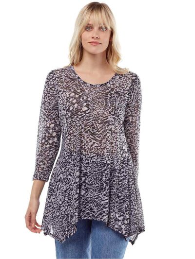 """Zephora"" Print Cotton Burnout Asbury Tunic-Wash"