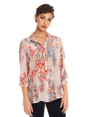 """Cordoba"" Print Linen Loving Blouse-WASH"