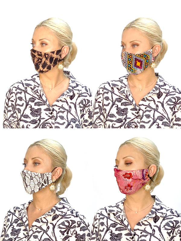 """Fashion Face Masks """"Limited Edition"""" (4 pack assorted prints and fabrics) - Final Sale"""