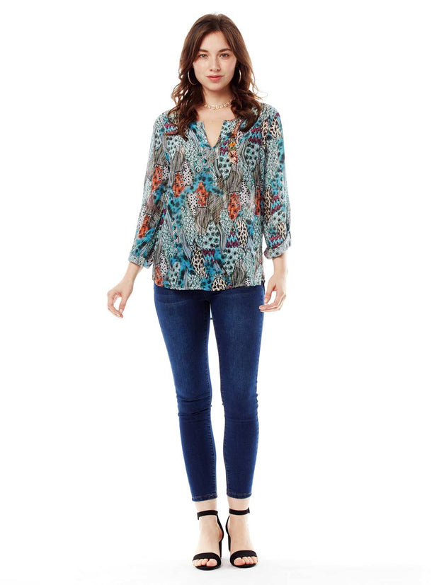 """HipCat"" Washable Silk Avlyne Blouse"