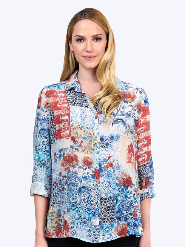 Scarlet Washable Silk Loving Blouse Tianello