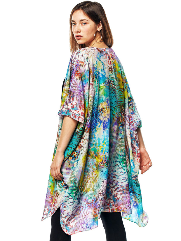 """Waimea"" Printed Washable Silk Zen Robe"