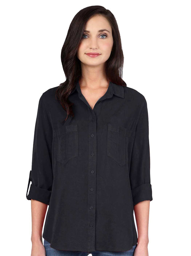 "Washable Silk Crepe de Chine ""Savoir"" Blouse-Black"