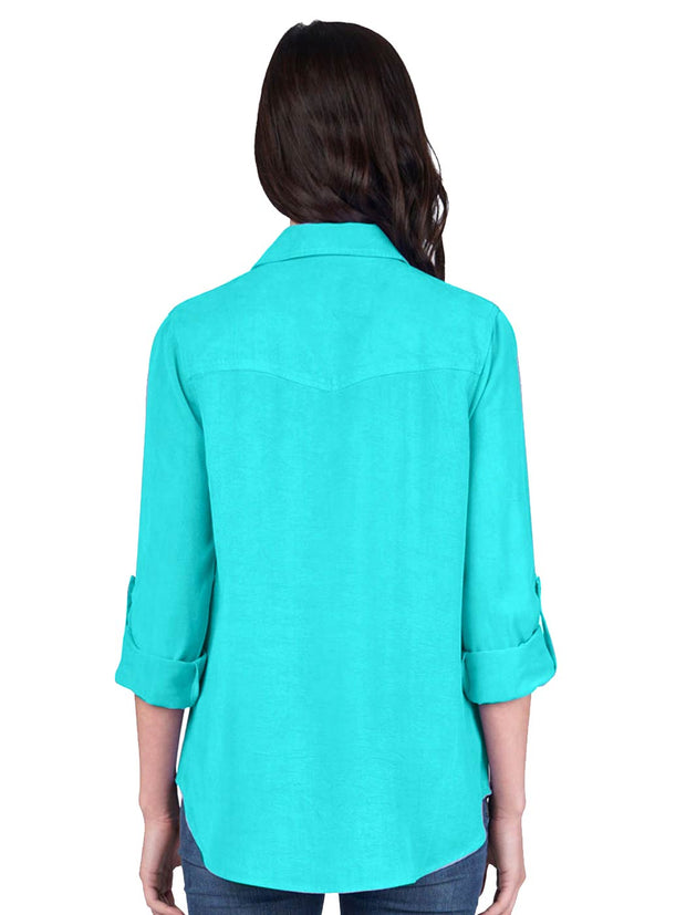 "Washable Silk Crepe de Chine ""Savoir"" Blouse-Glass Blue"
