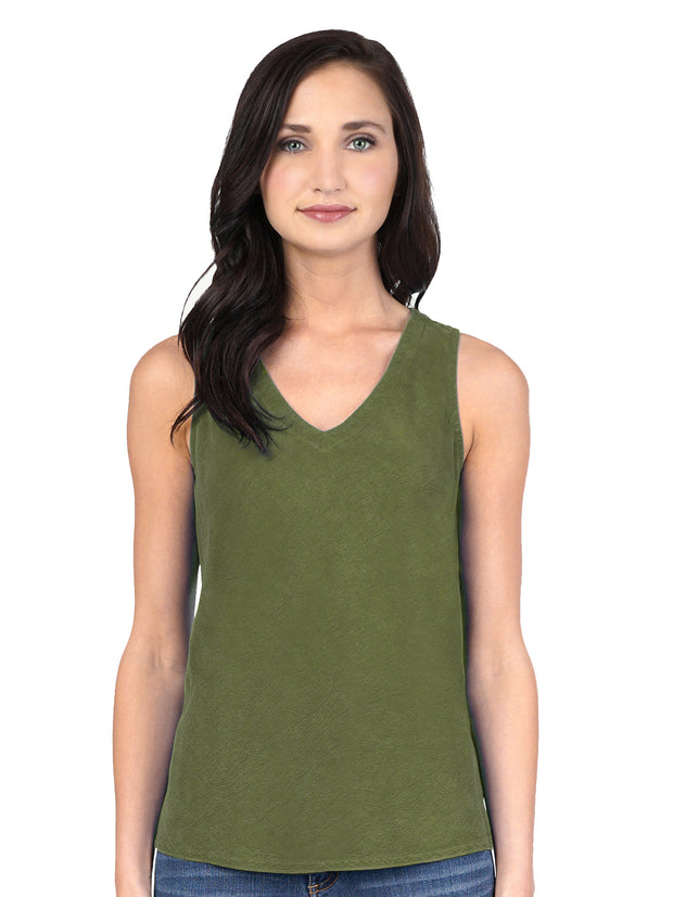 TENCEL™ Erika Bias Tank Top-Spanish Olive
