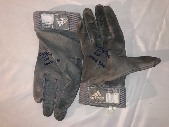 Eduardo Nunez Signed/Game Used World Series Gloves - Celebz Direct