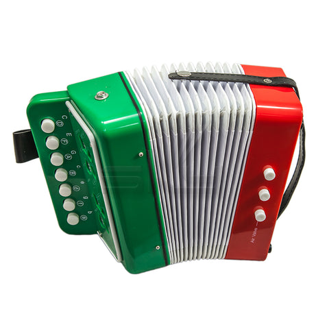 SKY Accordion Mexican Flag Pattern 7 Button 2 Bass Kid Music Instrument