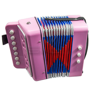 SKY Accordion Light Pink Color 7 Button 2 Bass Kid Music Instrument