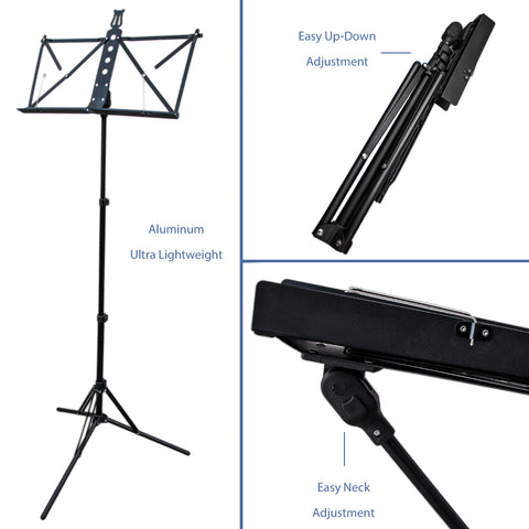 Paititi Brand New Strong Durable Adjustable Folding Music Stand Black