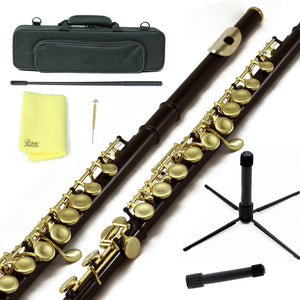 Sky C Foot Flute Black Gold Closed Hole Band Approved