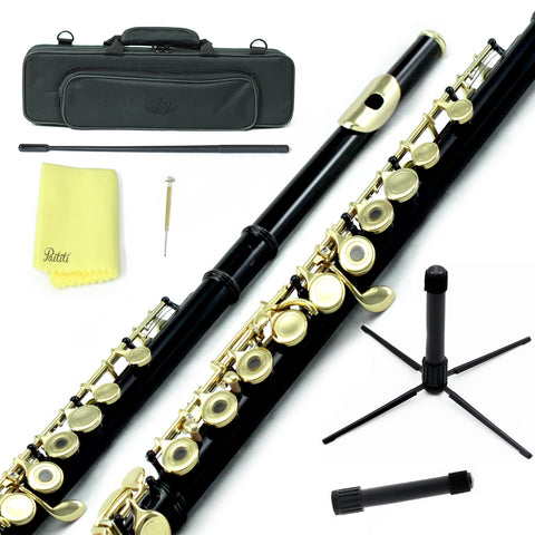 Sky C Foot Flute Black/Gold Open Hole Band Approved