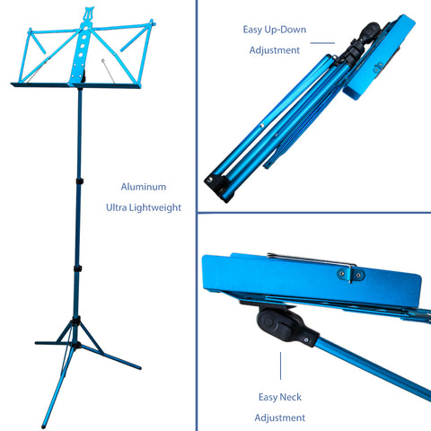 Paititi Brand New Strong Durable Adjustable Folding Music Stand Blue