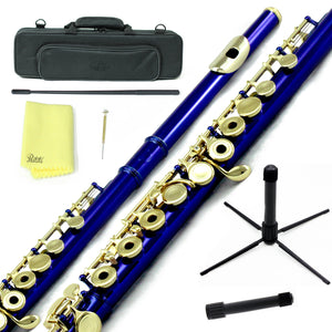 Sky C Foot Flute Blue/Gold Open Hole Band Approved