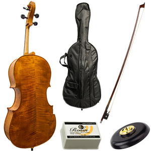Paititi PT300 Ebony Fitted Highly Flamed 4/4 Professional Acoustic Cello Kit