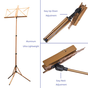 Paititi Brand New Strong Durable Adjustable Folding Music Stand Champagne