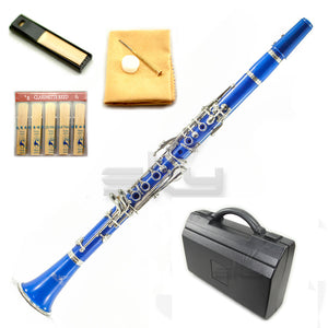SKY Blue ABS Student Bb Clarinet with Case, Mouthpiece, 11 Reeds, Care kit and more
