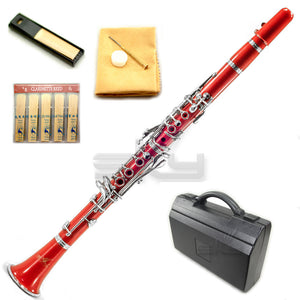 SKY Red ABS Student Bb Clarinet with Case, Mouthpiece, 11 Reeds, Care kit and more