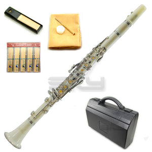 SKY White Bb Clarinet Ebony Neck with Case, Mouthpiece, 11 Reeds, Care Kit and More