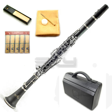 SKY Ebonite Bb Clarinet Ebony Neck and Bell with Case, Mouthpiece, 11 Reeds, Care kit and more