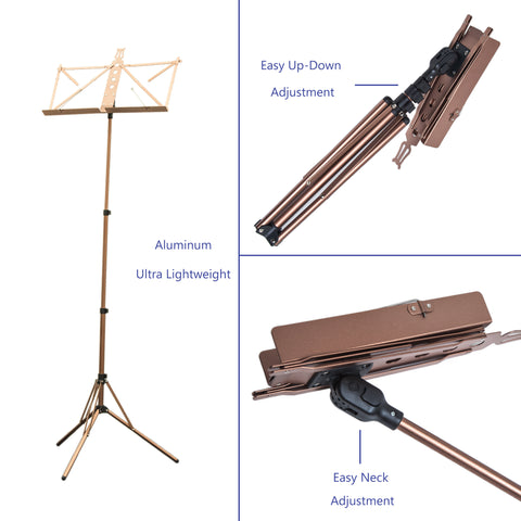 Paititi Brand New Strong Durable Adjustable Folding Music Stand Coffee