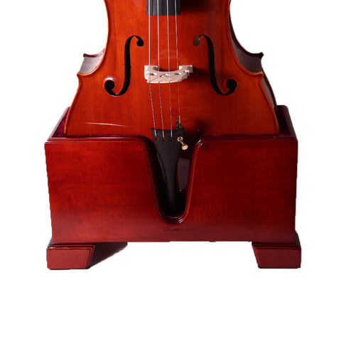 Paititi Premium Cello Burgundy Solid Wood Stand Velvet Plush Cushions 4/4 Full Size