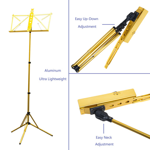 Paititi Brand New Strong Durable Adjustable Folding Music Stand Gold