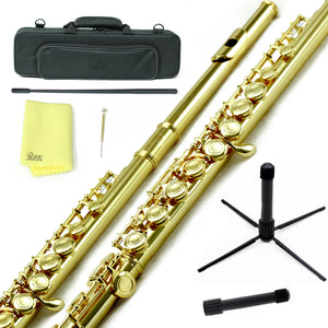 Sky C Foot Flute Gold/Gold Closed Hole Band Approved