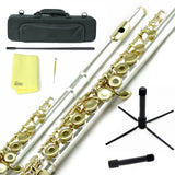 Sky C Foot Flute Silver/Gold Open Hole Band Approved