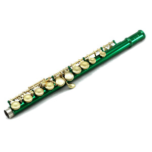 Sky C Foot Flute Green Gold Closed Hole Band Approved