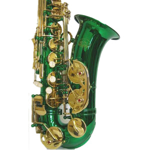 Sky E Flat Lacquer Alto Saxophone with F# Key, Case and 10 Reeds, Green