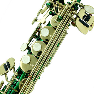 Sky Band Approved Bb Green Lacquered Soprano Saxophone with Case and Care Kit