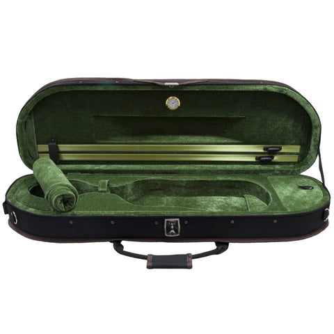 Sky Violin Halfmoon Case HM11 Lightweight with Hygrometer Black/Grass Green