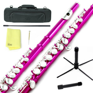 Sky C Foot Flute Hot Pink Silver Closed Hole Band Approved